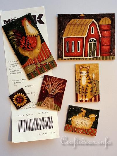 Fabric Craft with Wood - Fall Refrigerator Magnets 2