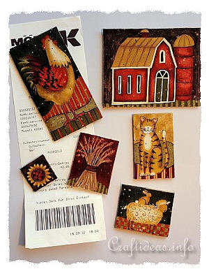 Fabric Craft with Wood - Fall Refrigerator Magnets