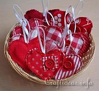 Fabric Hearts Ornaments