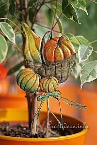 Fall Craft - Metal Embossing and Decoupage - Metal Pumpkins Plant Poke 200