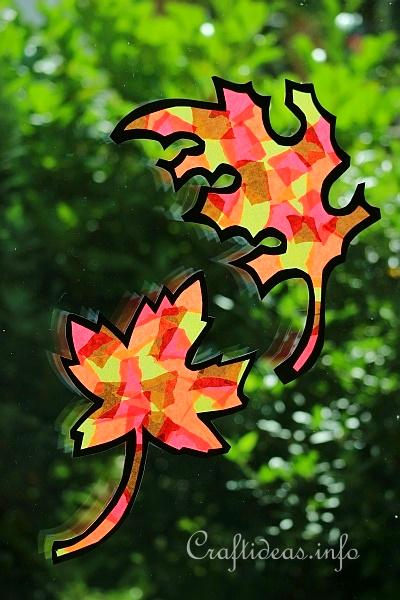 Fall Craft for Kids - Paper Autumn Leaves Window Decorations