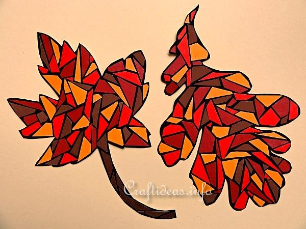 Autumn Crafts For Kids Paper Mosaic Maple Leaf And Paper