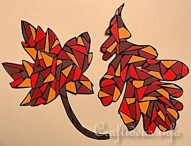 Fall Craft for Kids - Paper Mosaic Leaves