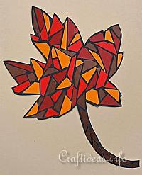 Fall Craft for Kids - Paper Mosaic Maple Leaf 200