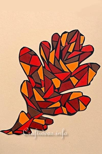 Fall Craft for Kids - Paper Mosaic Oak Leaf