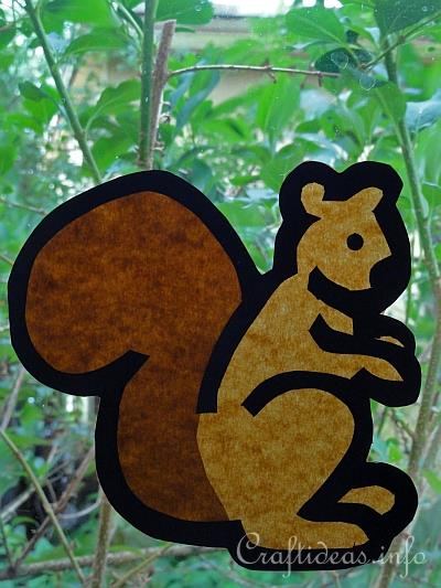 Fall Craft For Kids Paper Squirrel Window Decoration