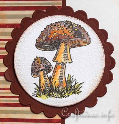 Fall Greeting or Birthday Card - Card with Mushroom Motif - Detail