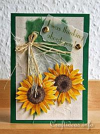 Fall Greeting or Birthday Card - Sunflowers Card - I was thinking about you
