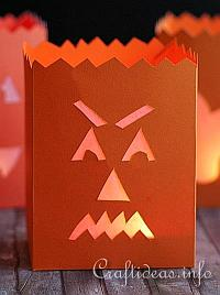 Fall Paper Craft - Evil Pumpkin Paper Lantern