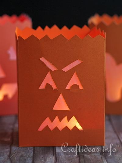 Fall Paper Craft - Evil Pumpkin Paper Lantern b