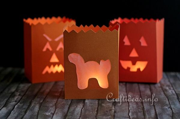 Fall Paper Craft - Halloween Table Lanterns