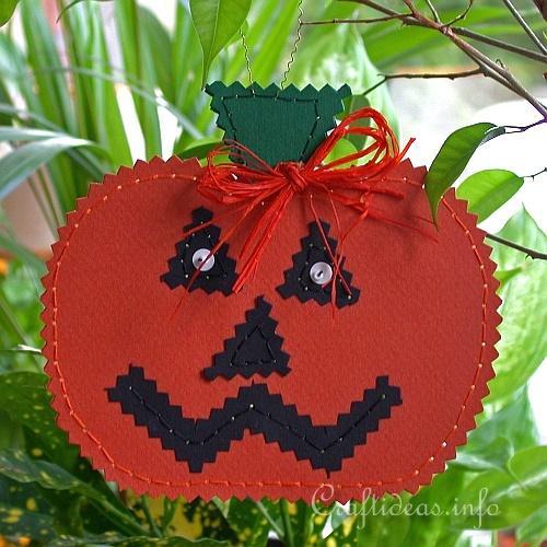 Fall Paper Craft - Paper Jack o' Lantern Plant Hanger 400