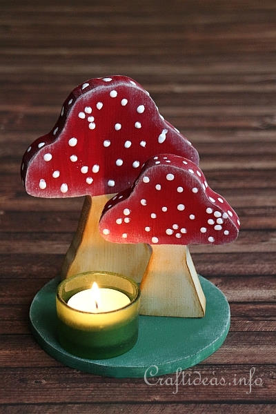 Fall Wood Craft - Mushrooms Tea Light Holder