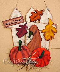 Wooden Pumpkin Sign Fall Leaves