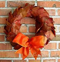 Fall Wreath with Beech Leaves