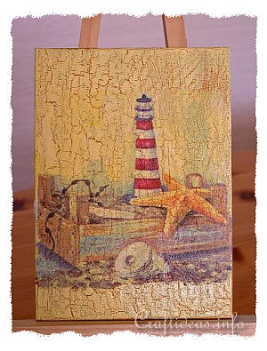 Faux Lighthouse Painting - Paper Napkin Applique