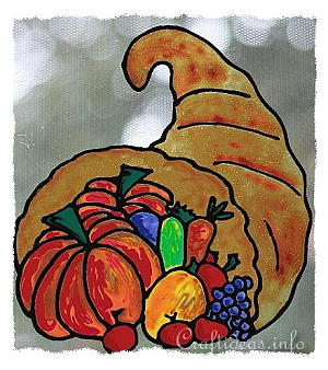 Faux Stain Glass Picture - Thanksgiving - Cornucopia