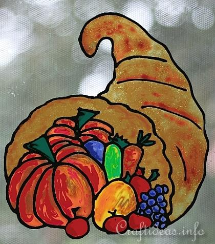 Fall Craft - Faux Stained Glass Cornucopia