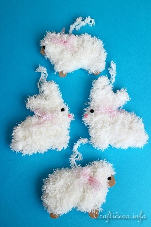 Easter Craft Furry Easter Bunny And Furry Sheep