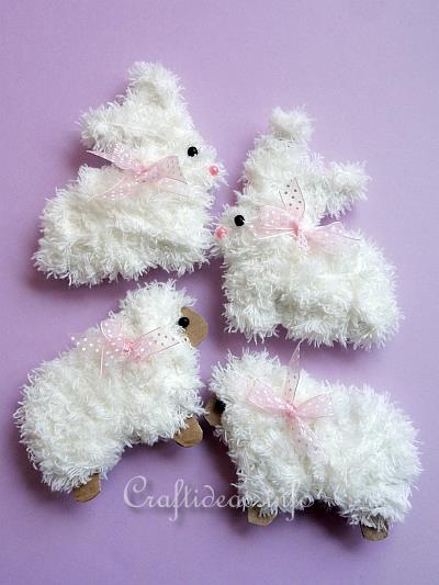 Easter craft furry easter bunny and furry sheep for Furry craft