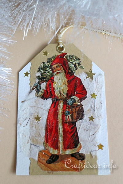 Gift Tag Craft for Christmas - Nostalgic Father Christmas Gift Tag