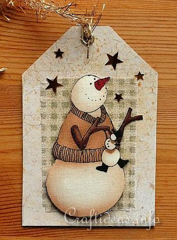 Gift Tag Craft for Christmas - Snowman Gift Tag 1