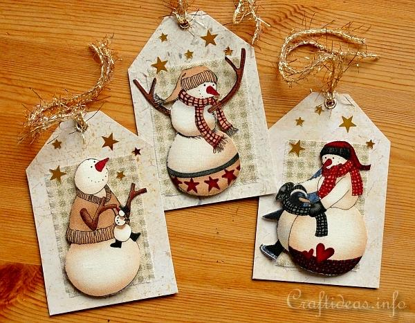 Gift Tag Craft for Christmas - Snowman Gift Tags