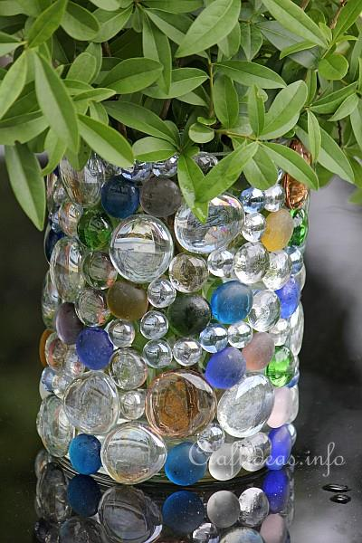 Summer Craft Idea Glass Vase Embellished With Glass Nuggets