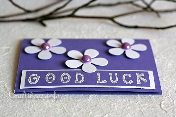 Good Luck Greeting Card 2 - Purple with Flowers 2