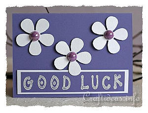 Good Luck Greeting Card 2 - Purple with Flowers