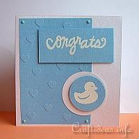 Greeting Card for the Birth of a Baby Boy - Blue Card with Duck Motif