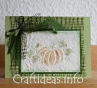 Greeting and Birthday Card for the Fall - Embossed Pumpkins Card