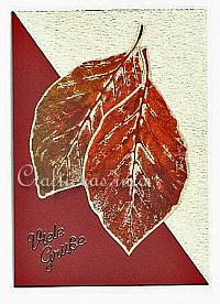 Greeting and Birthday Card for the Fall - Stamped Leaves on Paper Card
