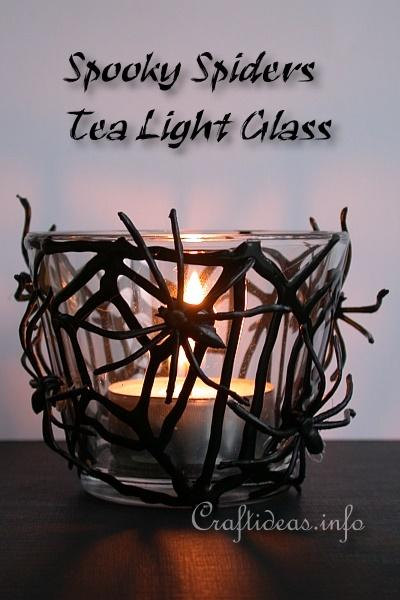 Halloween Craft - Spooky Spider Web Tea Light Glass