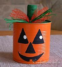 Halloween Craft for Kids - Recycling Craft - Jack o' Lantern Pumpkin Can Craft