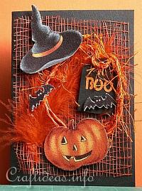 Halloween Greeting Card or Invitation - Pumpkin, Bats and Hat Card