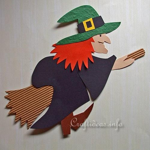 Free Halloween Paper Crafts - Paper Piecing Witch Decoration