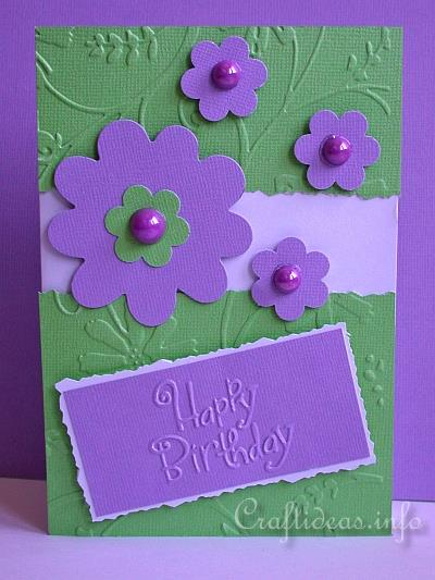 Craft idea birthday card for all seasons cheery birthday card happy birthday card purple flowers bookmarktalkfo