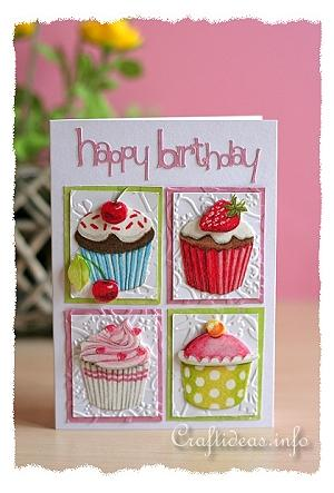 Craft ideas and card crafts collage card in pink happy birthday cupcakes card bookmarktalkfo Gallery