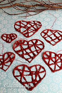Hot Glue Heart Ornaments