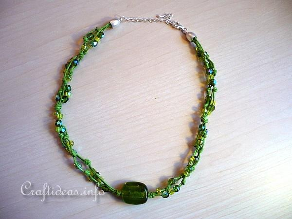 Jewelry Craft - Green Beaded Necklace