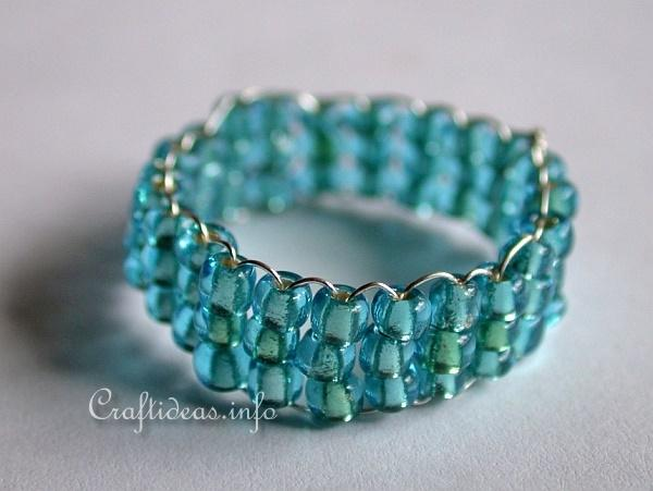 Jewelry and Bead Craft - Blue Beaded Ring