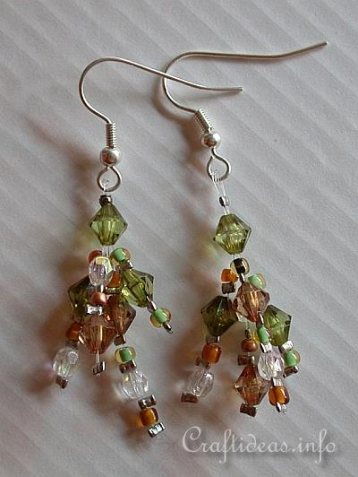 Jewelry and Bead Craft - Brown and Green Beaded Earrings