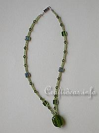 Jewelry and Bead Craft - Green Beaded Necklace with Pendant