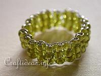 Jewelry and Bead Craft - Green Beaded Ring