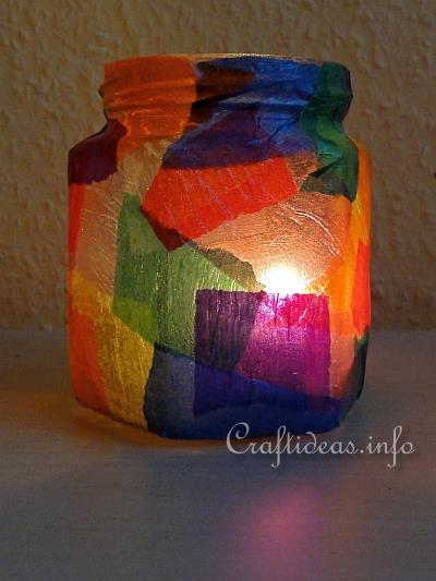 Kids Craft for Christmas - Colorful Tea Light Holder