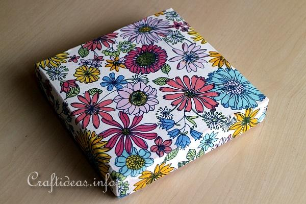 Craft Idea With Fabric and Boxes - Cover Box Lids With Fabric