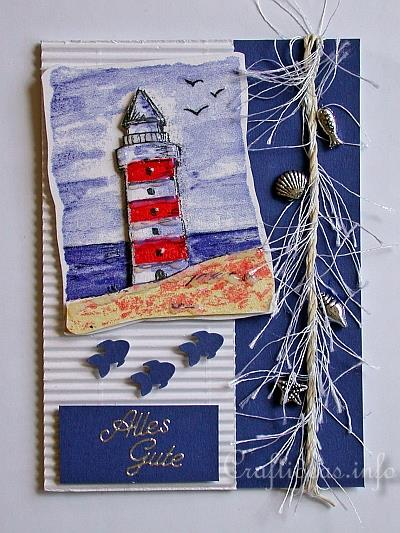 Birthday Card Craft Maritime Card With Lighthouse Motif