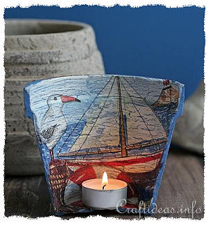 Maritime Craft - Terracotta Pot Tea Light Holder