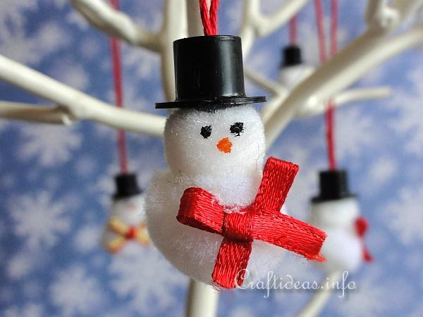Mini Pom-Pom Snowmen Ornaments